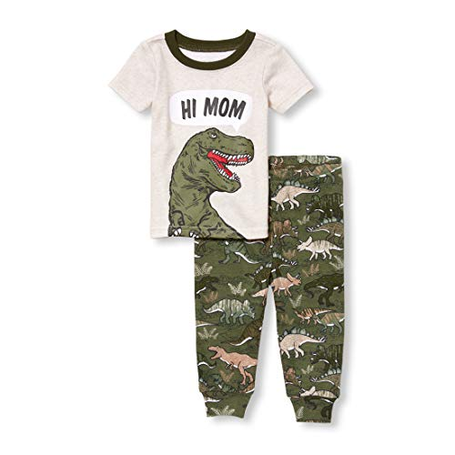 The Children's Place Baby Boys Graphic Short Sleeve Top and Bottom Pajama Set, Heather/t Vanilla, 3T ()