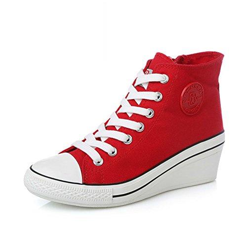 La Los Ayuda A Con Casuales sistema Cuesta mujeres Clásico Zapatos De Coreana Alta Lona Versión Simple EwCqXx