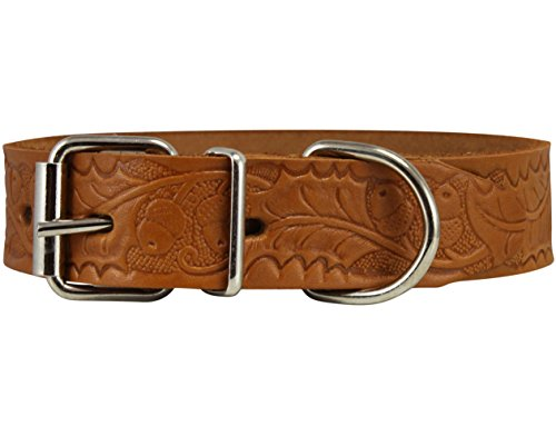 Genuine Tooled Leather Dog Collar Floral Pattern Tan 3 Sizes (Neck Circumf: 13