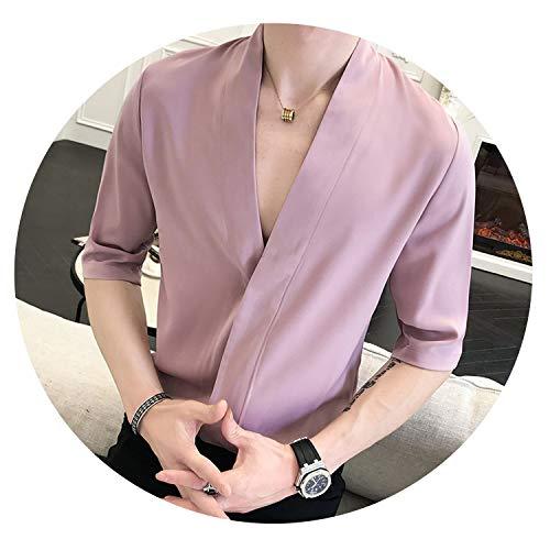 (kangkangmei Sexy Deep Pullover Shirt Red Pink Black White 4 Colors Summer Shirt Men Slim Fit Thin Solid Designer Shirt,Pink,L 52-60kg)