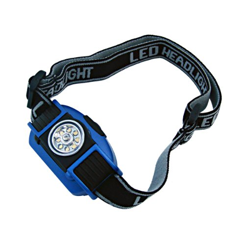 Dorcy 103-Lumen Weather Resistant Adjustable LED Headlight with Adjustable Head Strap, Black and Blue (41-2093) (3 Led Mwave Headlight)