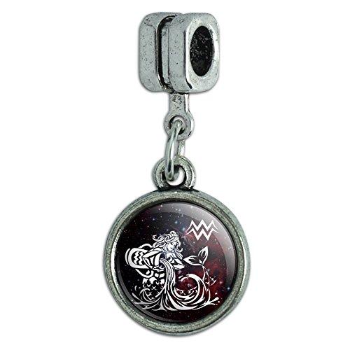 Zodiac Symbol Sign Italian Charm (Aquarius Water-Bearer Zodiac Sign Horoscope in Space Italian European Style Bracelet Charm Bead)