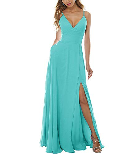 YMSHA Women's Side Split Bridesmaid Gowns V-Neckline Spaghetti Straps Long Prom Party Dresses 2 Turquoise