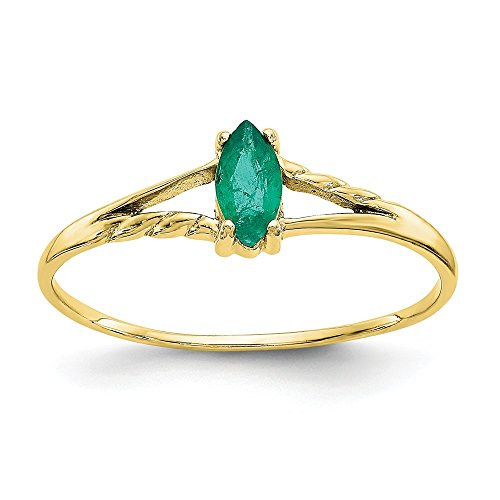 10k Yellow Gold Geniune Emerald Solitaire Engagement Ring (Emerald Gold Mens Bands)