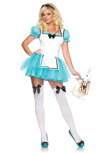 In Character Halloween Costumes (Leg Avenue Women's 2 Piece Enchanted Alice Costume, Aqua/White, Small/Medium)