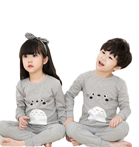 SUIYING Spring and Autumn Paragraph Boys and Girls Cotton Cartoon Pajamas Set (12, Gray Totoro)