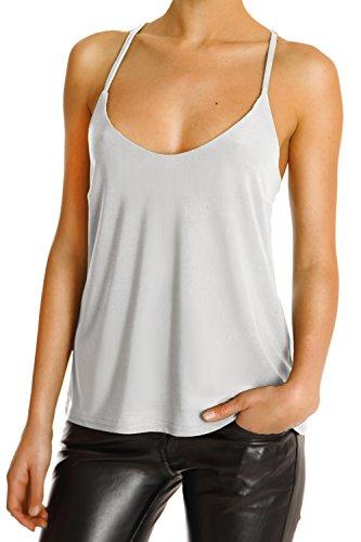 Bestyledberlin Damen Shirt, Bluse, tanktop, Tops t32p 38/M hellgrau