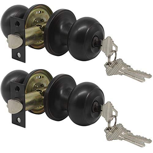 Gobrico 2 Keyed Alike Entry Door Lock Knob Handle Lockset with Same Key Oil Rubbed Bronze Finished