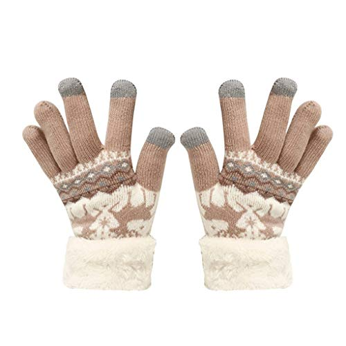 [해외]LuluZanm Winter Wool Gloves for Women MenUniChristmas Fleece Gloves Extra-Warm Splice Print Mittens / LuluZanm Winter Wool Gloves for Women Men,UniChristmas Fleece Gloves Extra-Warm Splice Print Mittens Khaki
