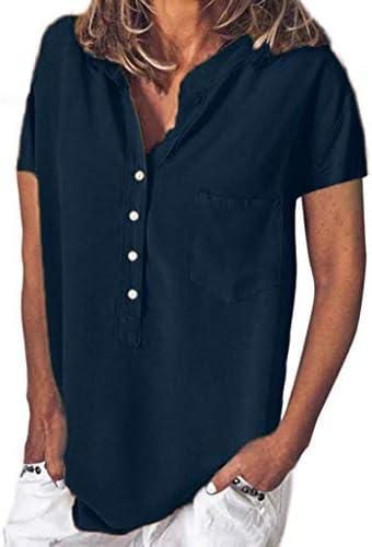 Lazzboy damska letnia moda jednokolorowa guzik swobodny top bluzka casual Button Plus Size T-Shirt kaptur gÓrna część duże rozmiary koszulka listwa guzikowa tunika: Odzież