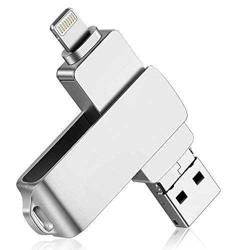 USB Flash Drive for iPhone and iPad-64GB[3 in 1]-Dainty USB 3.0-External High Speed Storage Memory Stick with Durable Metal Body & Anti-Lost Swivel Cap for iPhone/Samsung - Speed Storage High