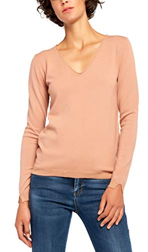 (BENANCY Women's Simple V-Neck Pullover Soft Knit Long Sleeve Sweater Top Pink)