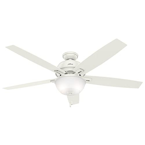Hunter Indoor Ceiling Fan with LED Light and pull chain control – Donegan 60 inch, White, 54171