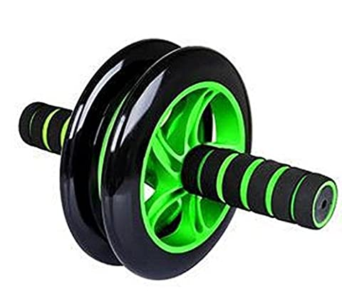 Green color Best Pro Gym Ab Wheel Roller Brand Dual Abdominal Fitness Workout Exercise Abs Wheels (Push Up Bar Nike)