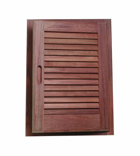 SeaTeak 60725 Teak Louvered Door and Frame, Oblong, Left Hand Opening, 15 Inch x 20 Inch