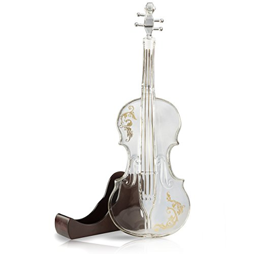 Glass Violin - Glass Violin Decanter, Mahogany Base - The Wine Savant 1000 ML Glass Decanter For Whiskey, Scotch, Spirits, Wine Or Vodka For Music Lovers.