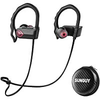SUNGUY Bluetooth Earbuds, Best Wireless Bluetooth Headphones IPX4 Sweatproof Waterproof HD Stereo Sound Sports Earphone for Running Workout Gym 8 Hour Battery Noise Cancelling Headset (Black)