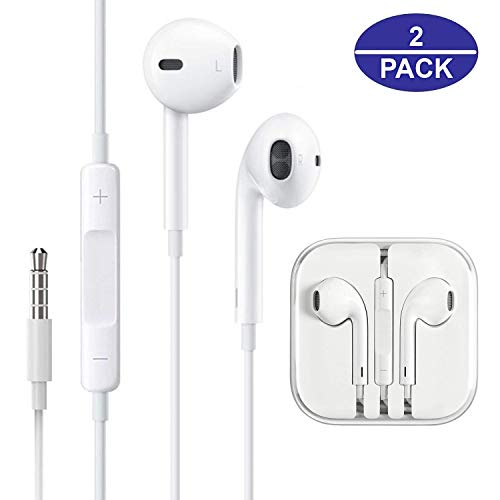 Headphones/Earphones/Earbuds, JOVERS 3.5mm aux Wired Headphones Noise Isolating Earphones Built-in Microphone & Volume Control Compatible iPhone iPod iPad Samsung/Android / MP3 MP4(2 Pack)