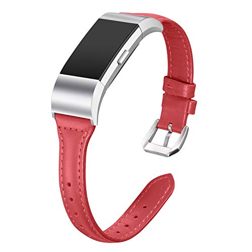 bayite Bands Compatible Fitbit Charge 2, Slim Genuine Leather Band Replacement Accessories Strap Charge2 Women Men, Red Large