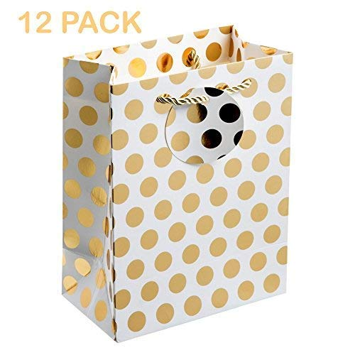 UNIQOOO 12Pcs Premium M-Size Gold Metallic Polka Dots Gift Bags Bulk, 9 x 7 x 4 inch, Recyclable Paper Retail Shopping Bags,Satin Handle for Wedding,Baby Shower, Birthday Party,Christmas Holidays -