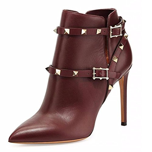 Red Heels Rivets Ankle toe Womens AIWEIYi Boots Pointed High XP8wO