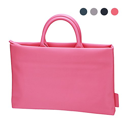 15 15.6 Inch Laptop Tote Bag, EKOOS Water-resistant Nylon Laptop Business Briefcase Handbag Carrying Bag Laptop Sleeve With Handle for Macbook Pro / Notebook Women/Men ( Pink (Pink Leather Briefcase)
