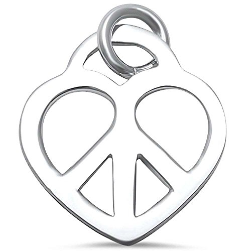 Peace Necklace Heart Sign (Peace Sign Heart .925 Sterling Silver Pendant)