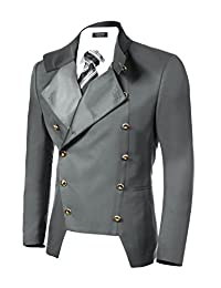 COOFANDY Men's Double-Breasted Blazer Business Casual Slim Fit Suit Jacket Party Coat