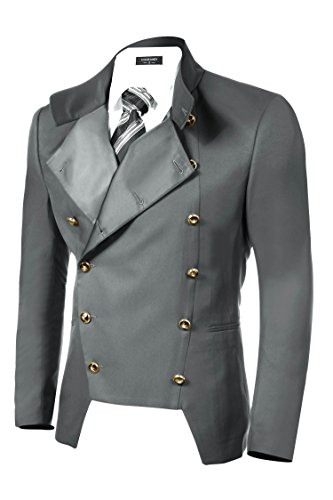 COOFANDY Men's Casual Double-Breasted Jacket Slim Fit Blazer (X-Large, Gray)