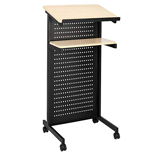 Bonnlo Mobile Wheeled Lectern Standing Podium, Portable Lecture Speech Teach Platform for Classroom Church or Ceremony, Multi-Function Reading or Laptop Desk, Table w/Tilted Top Board & Edge ()