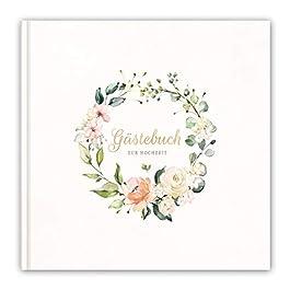 Hochzeitsbuch, Gästebuch zur Hochzeit, 21x21cm, Hardcover, Stabile Fadenbindung