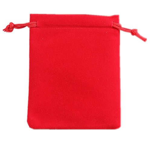 """Ximkee 50 Pieces Wholesale Lot - Black Velvet Cloth Jewelry Pouches / Drawstring Bags 3"""" X 4"""" (25, Red) from Ximkee"""