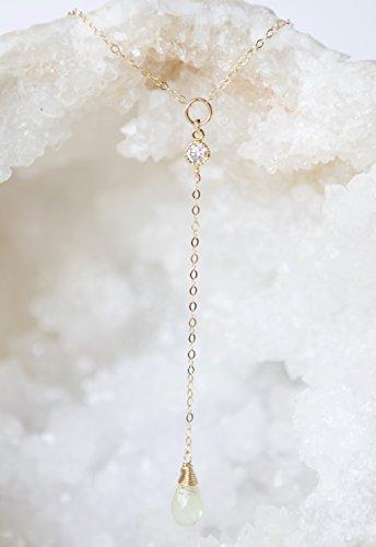 Yellow Lemon Quartz Teardrop Lariat Necklace with Gold Filled Necklace - 16