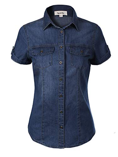 - Design by Olivia Women's Cap Sleeve Button Down Denim Chambray Shirt Dark Denim 1XL
