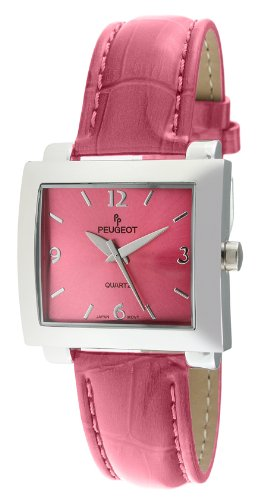 Peugeot Women's 708PK Silver-Tone Pink Leather Strap Watch
