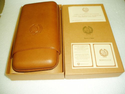 NATURAL KID LEATHER HIGH QUALITY CIGAR CASE UP TO A 64 RING GAUGE