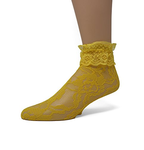 EMEM Apparel Women's Ladies Lace Anklet Ankle Quarter Socks Stockings with Ruffle Gold Yellow 9-11 ()