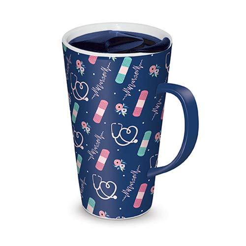 Lady Jane 13oz Spill Proof Ceramic Coffee Travel Mug with Lid Series (Nurse Pattern) -