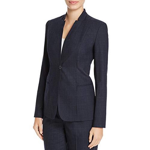 Elie Tahari Womens Tory Wool Window Pane One-Button Blazer Navy 12