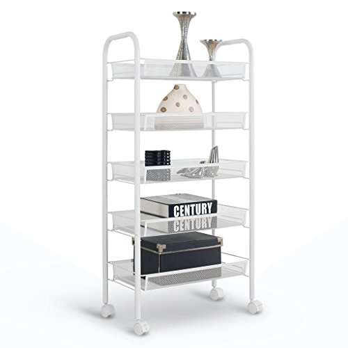 Rackaphile 5-Tier Metal Mesh Rolling Cart Trolly Organizer Shelves Handle Portable Utility, Easy Moving