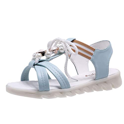 AHAYAKU Women Summer Sandals Open-Toe Elastic Band Casual Sandals Flat-Bottom Beach Shoe Blue