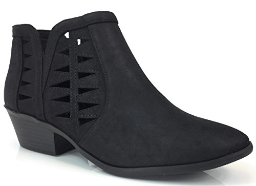 Soda Women's Perforated Cut Out Stacked Block Heel Ankle Booties Black 10 by Soda