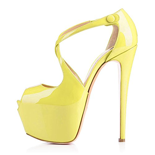Stiletto Knoechel Open Damen Pumps Schluepfen Gelb High Party Cross Plateau Buckle Schuhe Heel Strap Toe qtwZ8wS