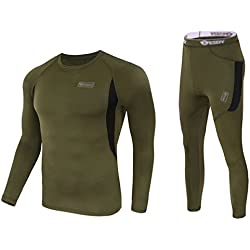 UNIQUEBELLA Men's Thermal Underwear Sets Top & Long Johns Fleece Sweat Quick Drying Thermo (XL, Army Green)