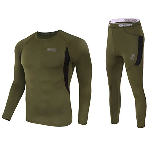 UNIQUEBELLA Men's Thermal Underwear Sets Top & Long Johns Fleece Sweat Quick Drying Thermo (M, Army Green) Military Polypropylene Thermal Underwear Bottoms