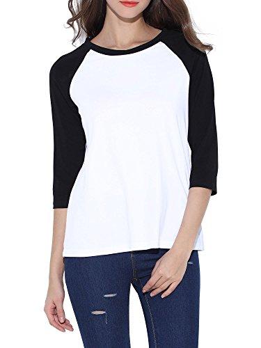 uideazone Womens Tops Casual Raglan Shirt 3/4 Sleeve Crew Neck Loose Baseball Tee 3/4 Raglan Sleeve Crew Shirt