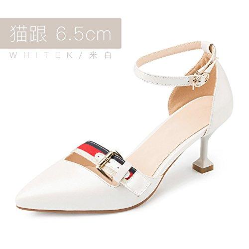 Sandals High Summer Female Word heels 5cm With Pointed White New Fine Buckle Heels High Wild Jqdyl 6 qFEHUwq