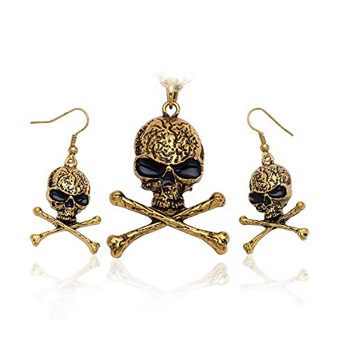 efigo Fashion Skull Necklace Earring Set Halloween Jewelry Set for Women Men Unisex Punk Viking Pendant Necklace