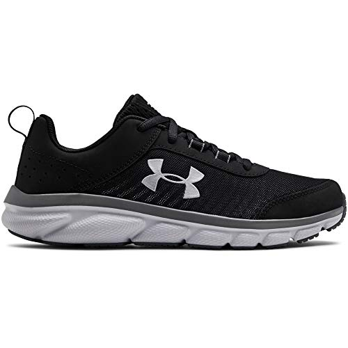 Under Armour Kids' Grade School Assert 8 Sneaker, Black (001)/Pitch Gray, 3.5