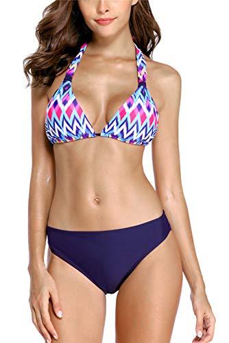 (ALove Women Tie Back Bikini Bathing Suits Two Piece Print Swimming Suits Swimwear XL)
